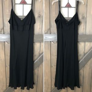 J. Crew Black 100% Silk Midi Length Dress Size 14